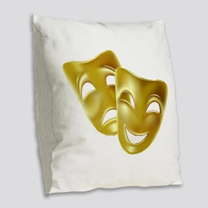Masks of Comedy and Tragedy Burlap Throw Pillow