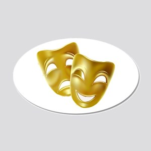 Masks of Comedy and Tragedy 20x12 Oval Wall Decal