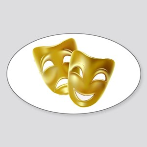 Masks of Comedy and Tragedy Sticker (Oval)