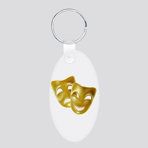 Masks of Comedy and Tragedy Aluminum Oval Keychain