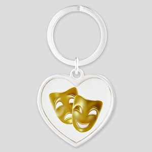 Masks of Comedy and Tragedy Heart Keychain