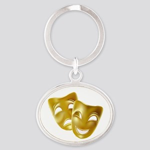 Masks of Comedy and Tragedy Oval Keychain