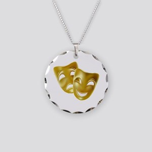 Masks of Comedy and Tragedy Necklace Circle Charm