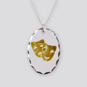 Masks of Comedy and Tragedy Necklace Oval Charm