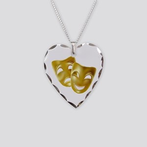 Masks of Comedy and Tragedy Necklace Heart Charm