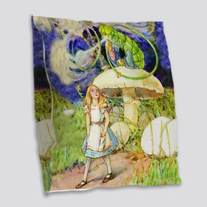 Alice and the Caterpillar Burlap Throw Pillow