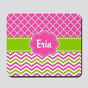 Pink Green Chevron Quatrefoil Personalized Mousepa
