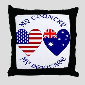 USA / Australian Heritage Throw Pillow