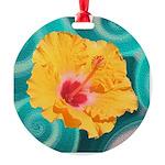 Orange Tropical Flower on Teal Ornament