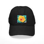 Orange Tropical Flower on Teal Baseball Hat