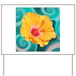 Orange Tropical Flower on Teal Yard Sign