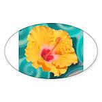 Orange Tropical Flower on Teal Sticker