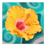 Orange Tropical Flower on Teal Square Car Magnet 3