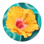 Orange Tropical Flower on Teal Round Car Magnet