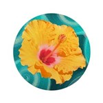 Orange Tropical Flower on Teal Button
