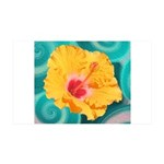 Orange Tropical Flower on Teal Wall Decal