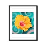 Orange Tropical Flower on Teal Framed Panel Print