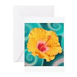 Orange Tropical Flower on Teal Greeting Cards