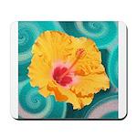 Orange Tropical Flower on Teal Mousepad