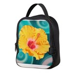 Orange Tropical Flower on Teal Neoprene Lunch Bag