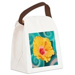 Orange Tropical Flower on Teal Canvas Lunch Bag