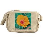 Orange Tropical Flower on Teal Messenger Bag