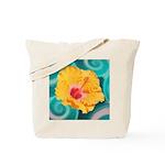 Orange Tropical Flower on Teal Tote Bag