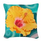 Orange Tropical Flower on Teal Woven Throw Pillow