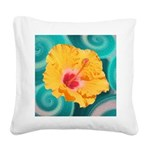 Orange Tropical Flower on Teal Square Canvas Pillo