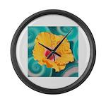 Orange Tropical Flower on Teal Large Wall Clock