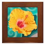 Orange Tropical Flower on Teal Framed Tile