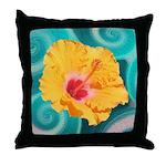 Orange Tropical Flower on Teal Throw Pillow