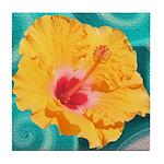 Orange Tropical Flower on Teal Tile Coaster