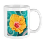 Orange Tropical Flower on Teal Mugs