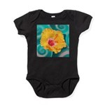 Orange Tropical Flower on Teal Baby Bodysuit