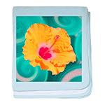 Orange Tropical Flower on Teal baby blanket