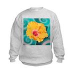 Orange Tropical Flower on Teal Sweatshirt