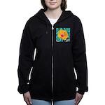 Orange Tropical Flower on Teal Women's Zip Hoodie