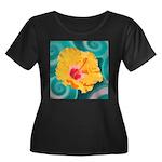 Orange Tropical Flower on Teal Plus Size T-Shirt