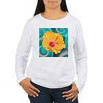 Orange Tropical Flower on Teal Long Sleeve T-Shirt