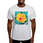 Orange Tropical Flower on Teal T-Shirt