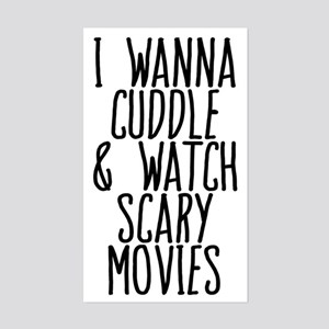 Cuddle and Watch a Movie Sticker (Rectangle)