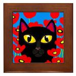 Black Cat Poppies Framed Tile
