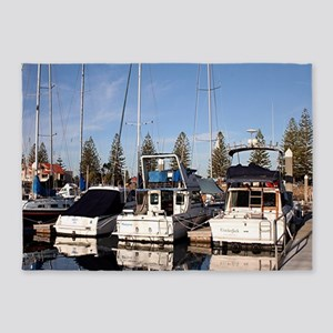 Boats in Marina, New Haven, South A 5'x7'Area Rug