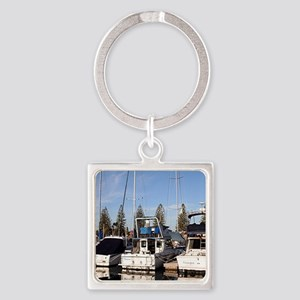 Boats in Marina, New Haven, South  Square Keychain