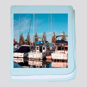 Boats in Marina, New Haven, South Aus baby blanket