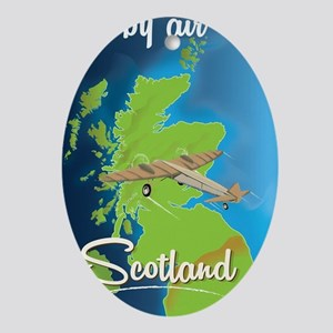 By Air To Scotland travel poster Oval Ornament