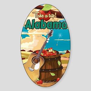 Alabama vintage travel poster Sticker (Oval)