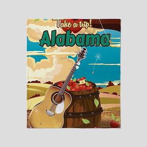 Alabama vintage travel poster Throw Blanket