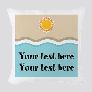 Personalized Beach Summer Woven Throw Pillow